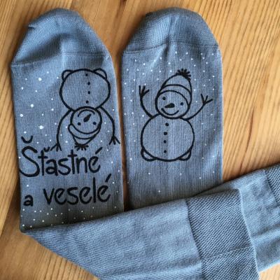 Maľované šedé vianočné ponožky s nápisom:
