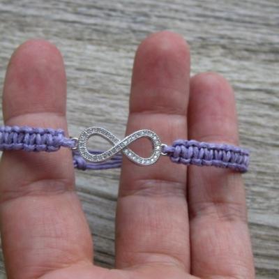 Pletený náramok detský (fialový Infinity nekonečno, č. 2867)