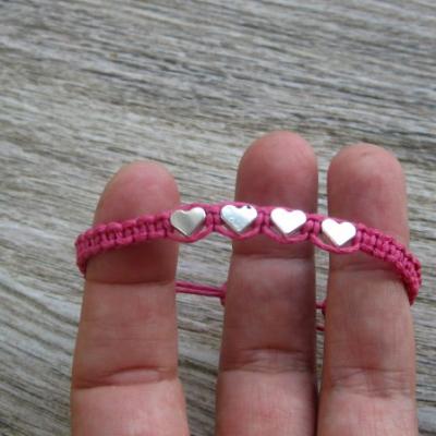 Pletený náramok detský (ružový so srdiečkami, č. 2868)