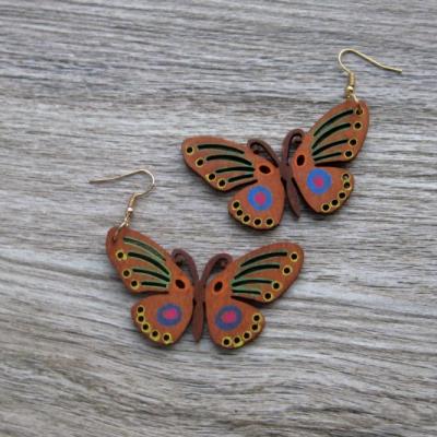 Veľké drevené maľované náušnice (motýle č. 2885)