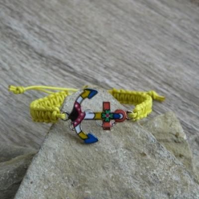 Pletený náramok detský (žltý s kotvou, č. 2916)