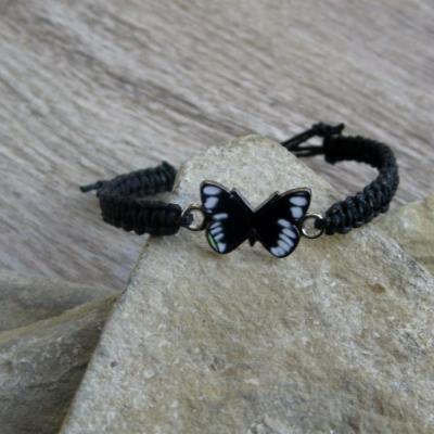 Pletený náramok detský (čierny s motýľom, č. 2919)