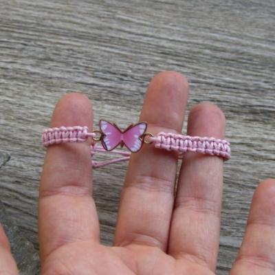 Pletený náramok detský (ružový s motýľom, č. 2927)