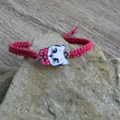 Pletený náramok detský (ružový s mačičkou, č. 2929)