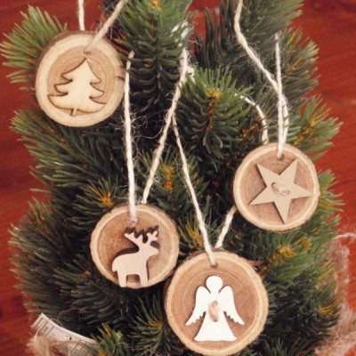 Vianočné drevené odzoby - sada 4ks