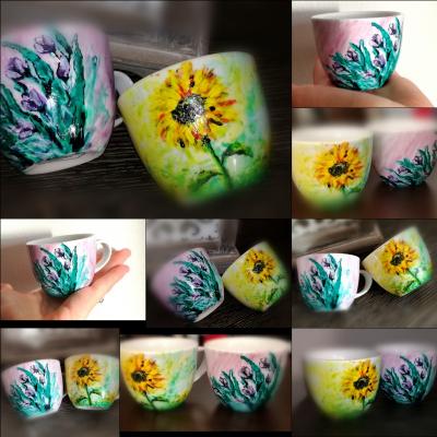 Maľované šálky Slnečnica a Tulipán