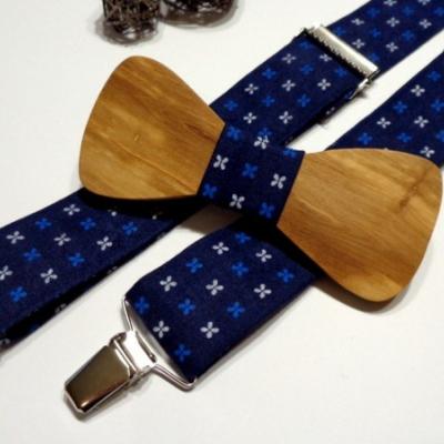 Pánsky set -drevený motýlik + traky  -