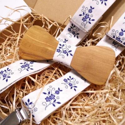 Pánsky set - Folklórny drevený motýlik + traky