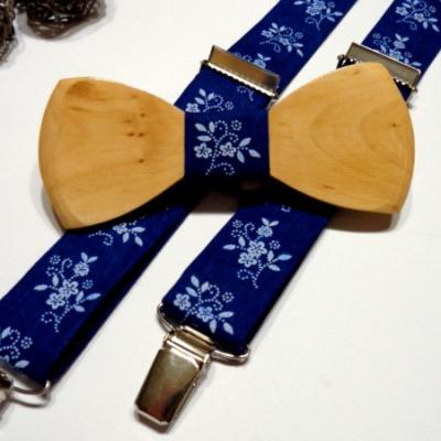 Pánsky set -drevený motýlik + traky  - modrotlač