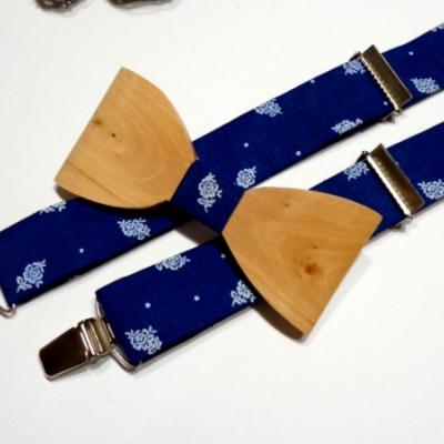 Pánsky set drevený motýlik + traky  - folk