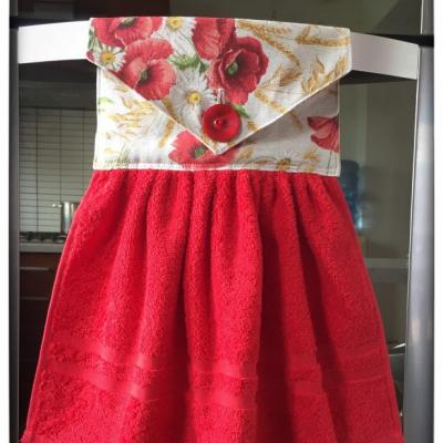 Kuchynský uterák červený - divé maky