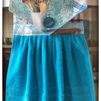 Kuchynský uterák tyrkysový - vzor varešky