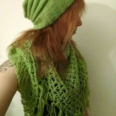 Šatka a čiapka v zelenej