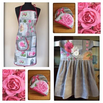 Set zástera a kuchynský uterák - ruže + 🎁