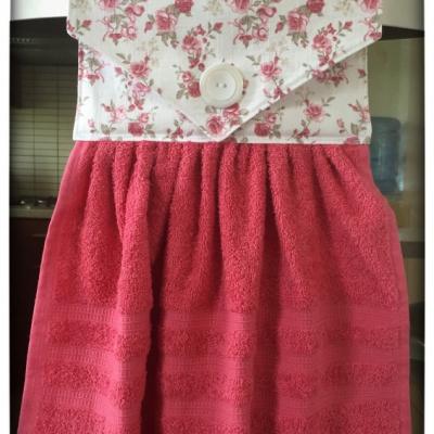 Kuchynský uterák ružový - malé ruže