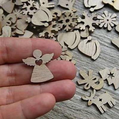 Sada vianočných drevených výrezov 10 ks (č.1)