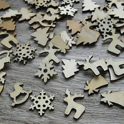 Sada vianočných drevených výrezov 10 ks (č. 2)