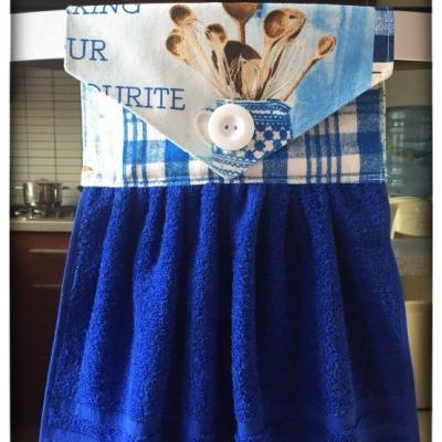 Kuchynský uterák modrý - vzor varešky