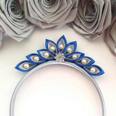 Diadém - čelenka pre dievčatko modro-strieborná