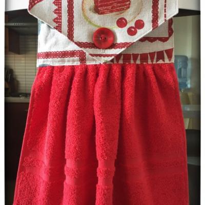 Kuchynský uterák červený - zákusok