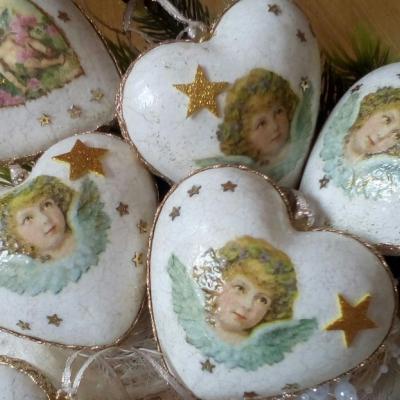 Vianočné srdiečka s anjelikom