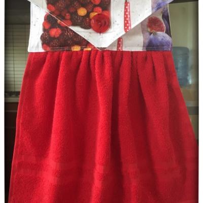 Kuchynský uterák červený - ovocie