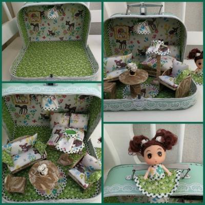 Zelený ňuňu kufrík so srnkami