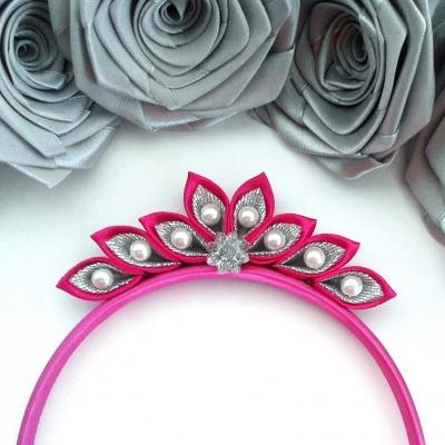 Čelenka pre dievčatko, ružovo- strieborný diadém