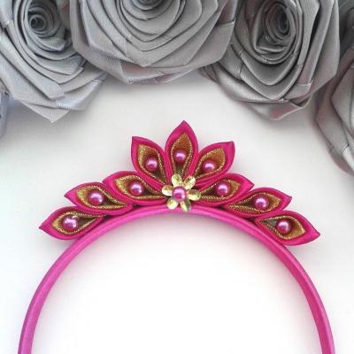 Čelenka pre dievčatko, ružovo- zlatý diadém