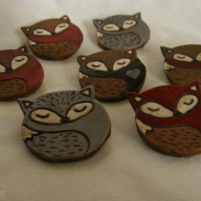 Keramické brošne - líška, vlk, sova, ježko, hríb