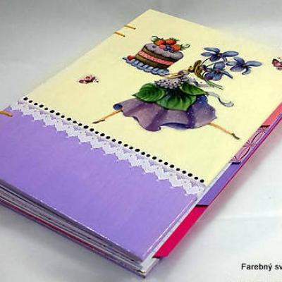 zápisník Receptár Torta a Fialky
