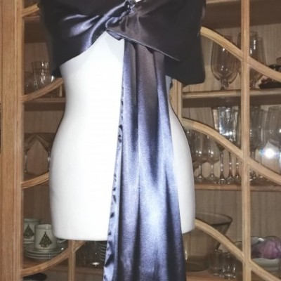 Štóla k spoločenským šatám 150cm _antracitová