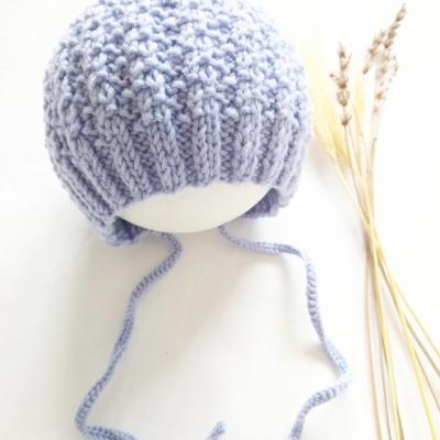Pletený čepček modrý - 100% merino