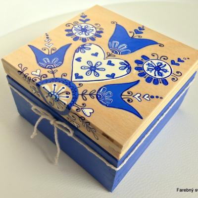 šperkovnica Tulipány v modrom