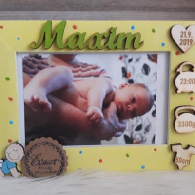 Fotorámik s údajmi o narodení / chlapček