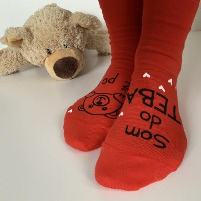 """Maľované červené valentinske ponožky s nápisom """"som do teba až po uši"""" alebo na želanie"""