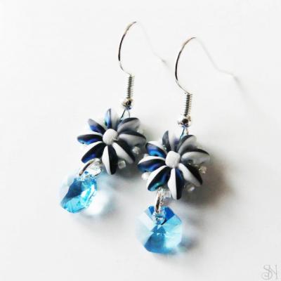 Elegantné modré náušnice so Swarovski krištálom