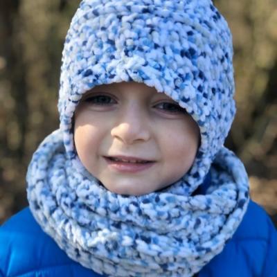 Zimná čapka a šál - Bodkovaný set