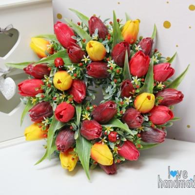 Tulipánový veniec bordovo-oranžový 33cm