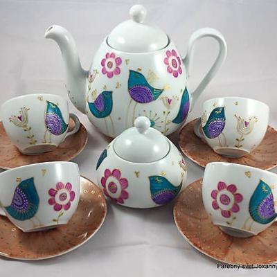 porcelánová čajová súprava Vtáčia hnedá