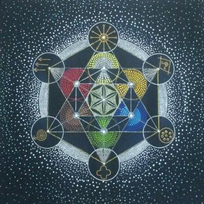 Mandala Metatronova kocka so symbolmi skutočnosti
