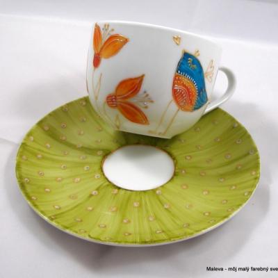porcelánová šálka Vtáčik zelený