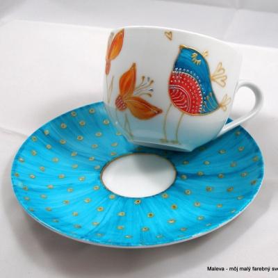 porcelánová šálka Vtáčik tyrkysový