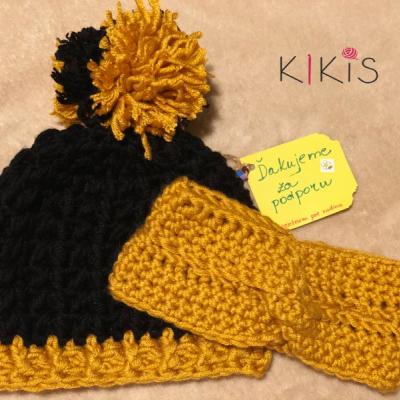 Set čiapka a čelenka - Čierno-horčicová kráska