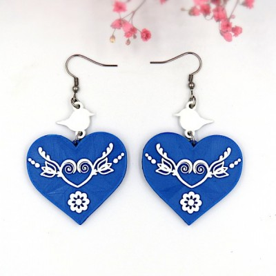 Folklórne náušnice srdcia krídla modro-biele 4 cm