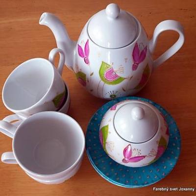 porcelánová čajová súprava Vtáčia tyrkysová