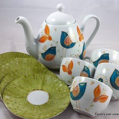 porcelánová čajová súprava Vtáčia zelená