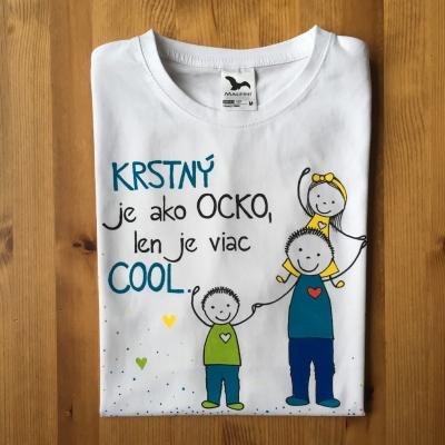 Originálne maľované tričko pre krstného  s 3 pestrofarebnými postavičkami a nápisom na želanie
