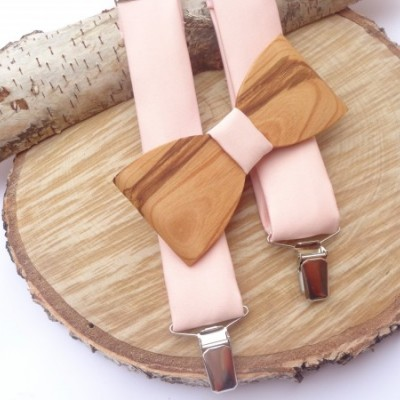 Pánsky set - Pánsky drevený motýlik čerešňa + pudrovo ružové traky