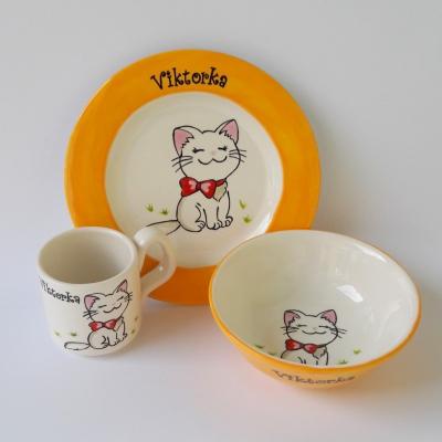 Hrnček, miska a tanier - mačička